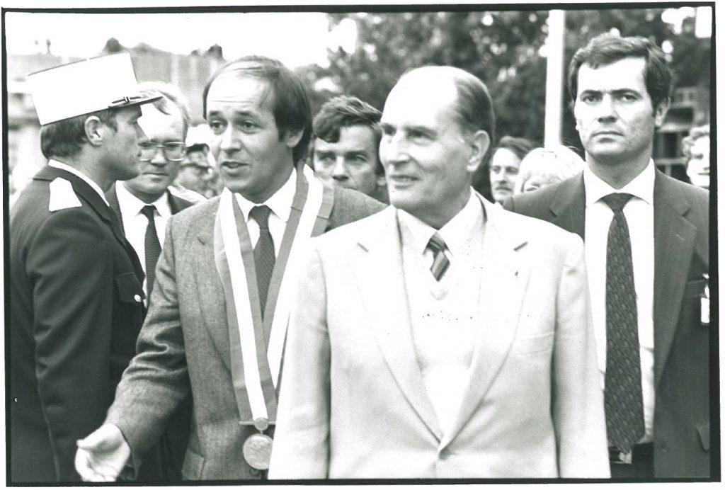 Sur la photo de gauche à droite : Edmond Hervé, Jean-Yves Le Drian, Jean Glavany, Francois Mitterrand