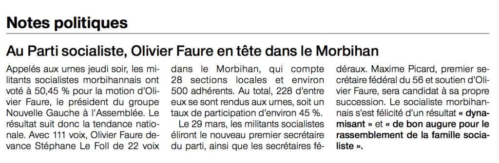 Ouest France, édition des 17-18 mars 2018
