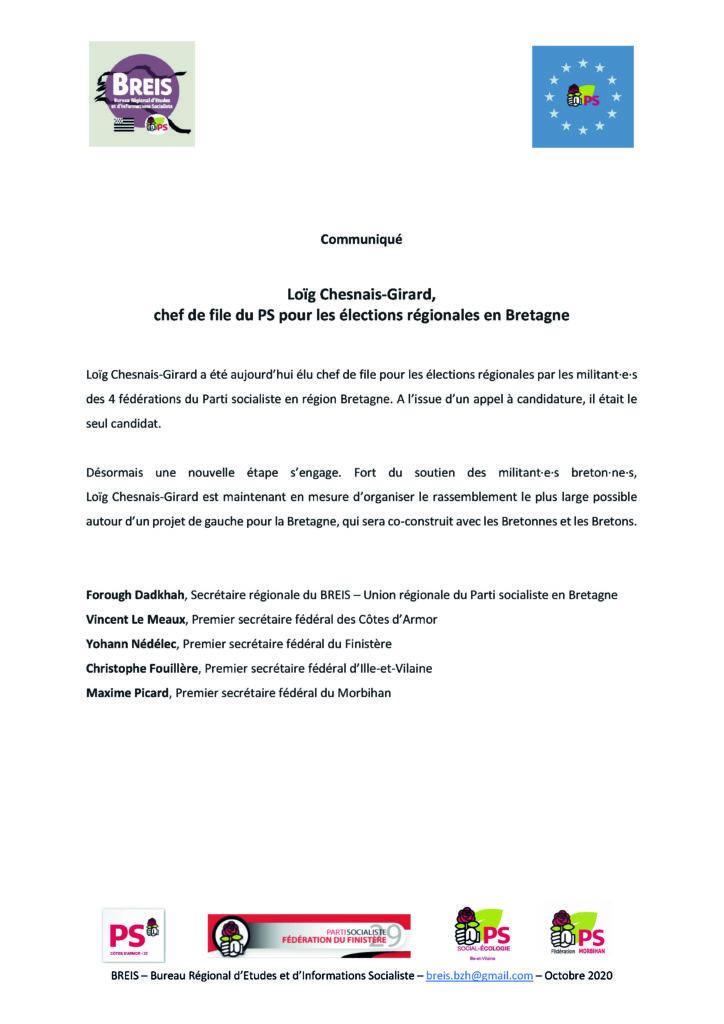 Communiqué de presse - Parti Socialiste - Fédérations / Breis - Bretagne - Régionales 2021 - LCG