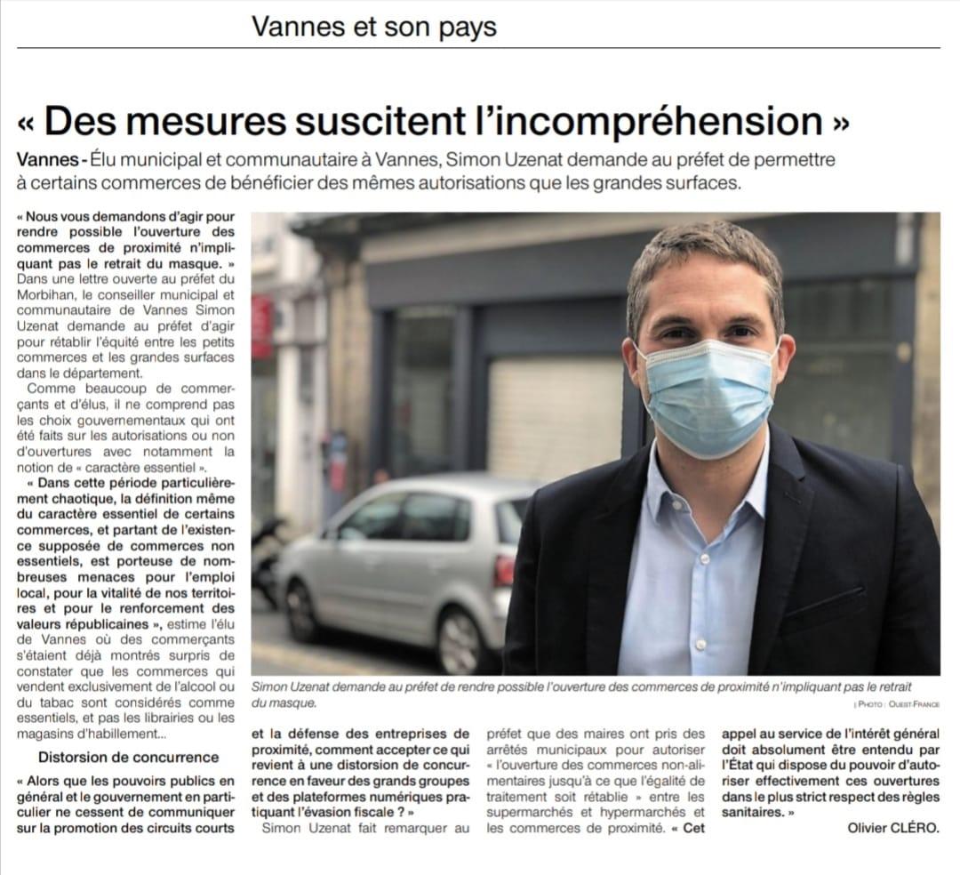 Simon UZENAT - Covid19 - Ouest France - Commerces