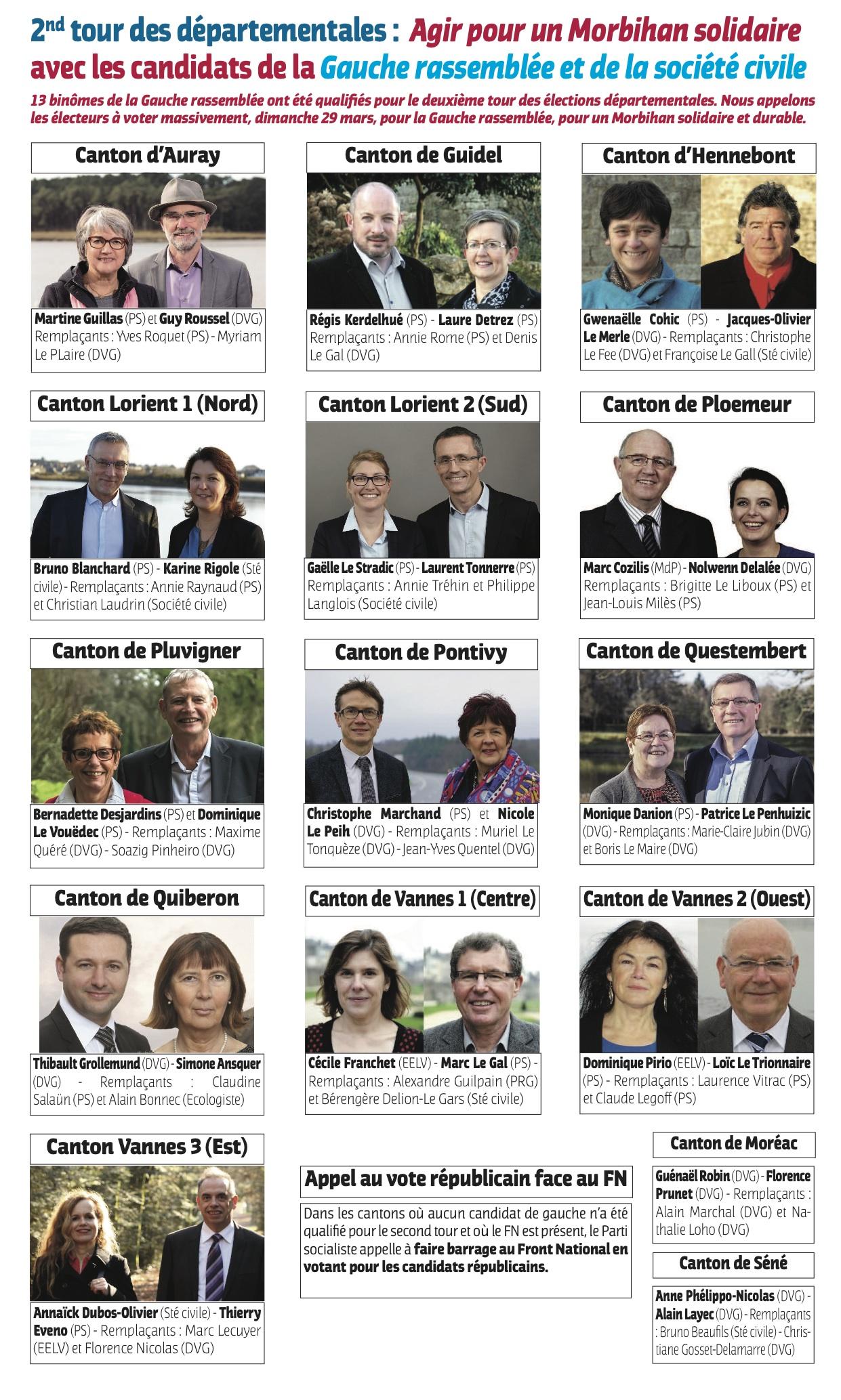 Candidats Gauche rassemblée-2nd tour
